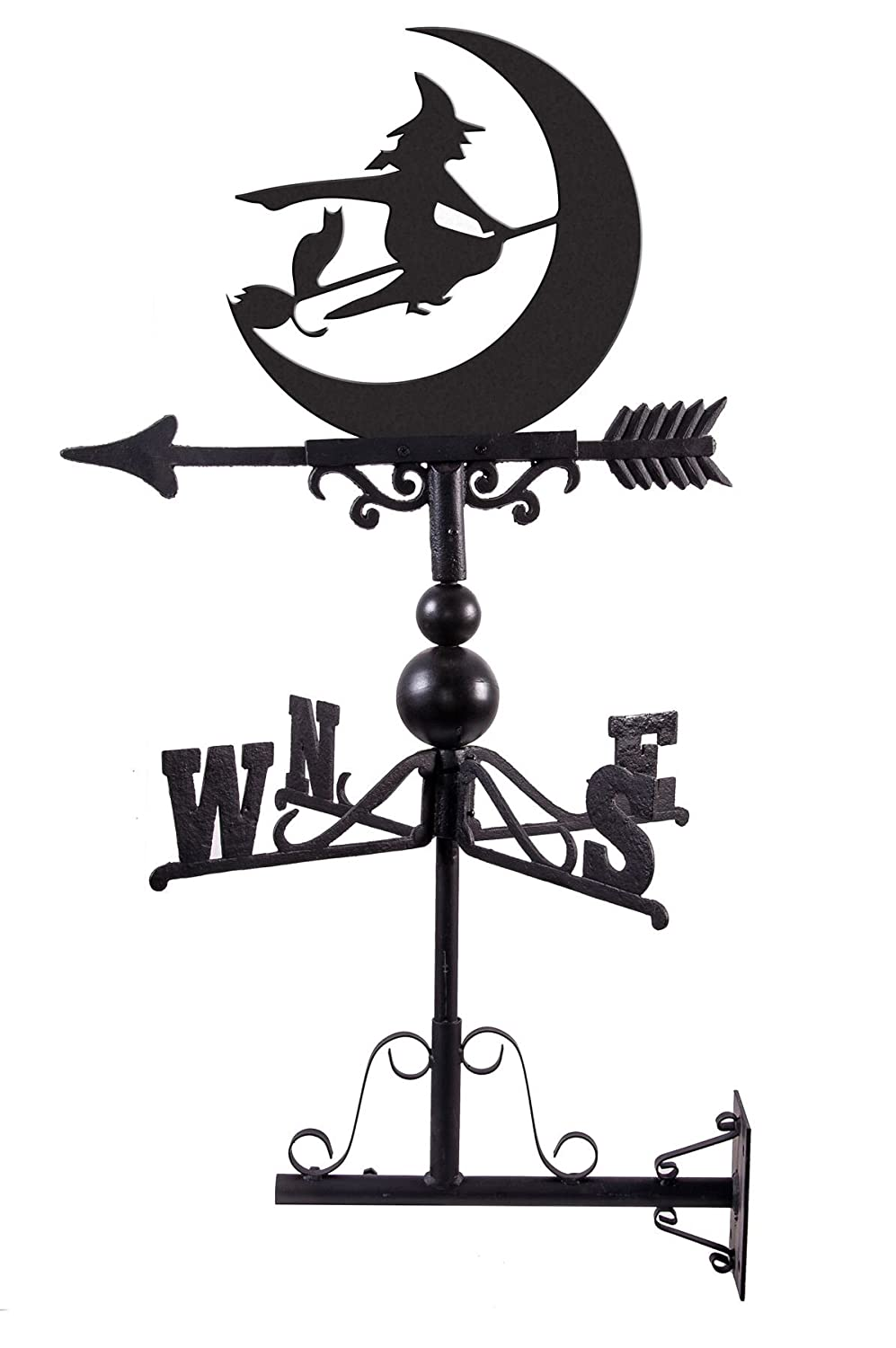 Black Country Metal Works Hand Made Cast Iron and Steel Witch Design Weathervane - Supplied with Wall Mounted Bracket