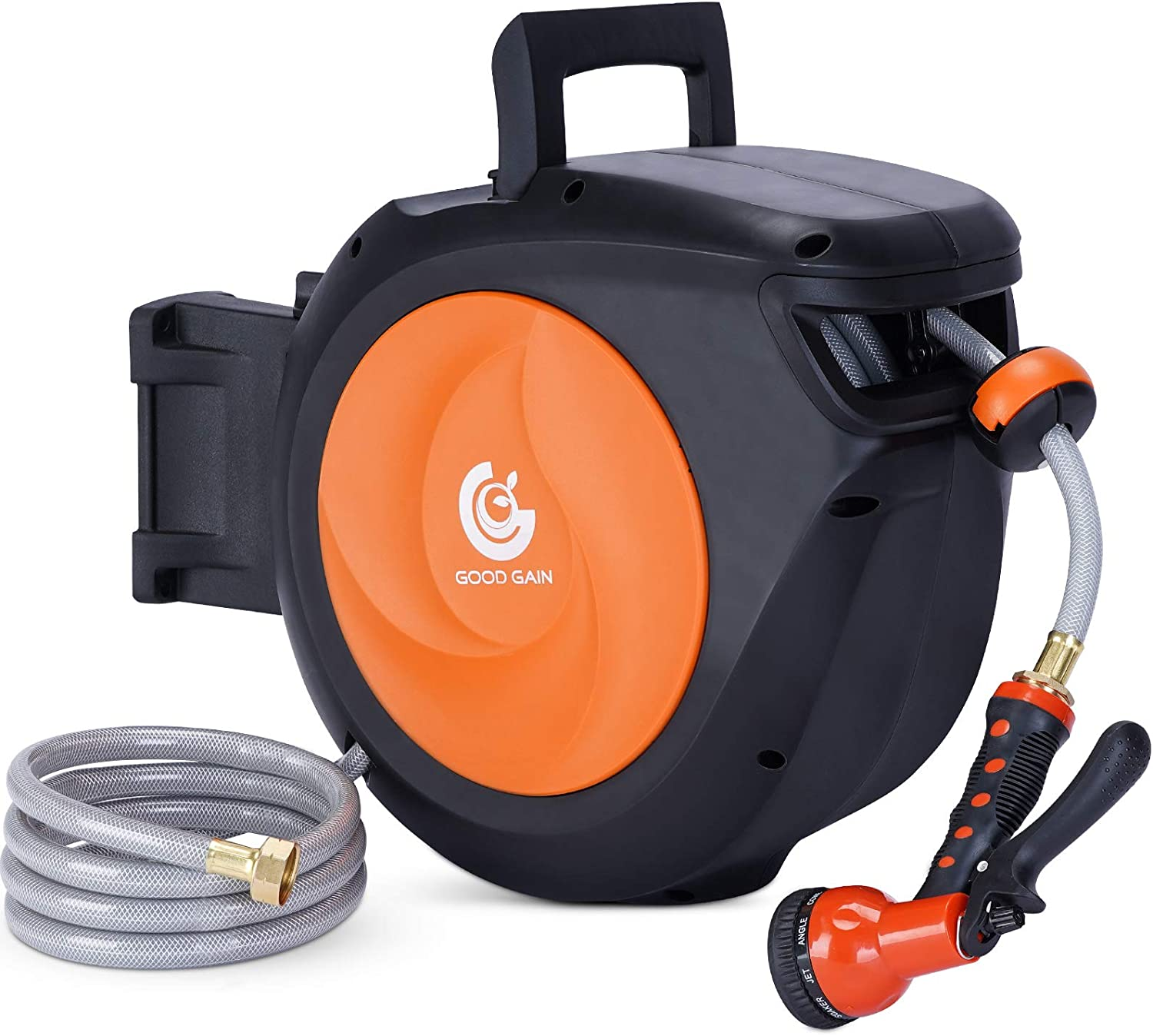 G GOOD GAIN Retractable Garden Hose Reel Wall Mounted1/2 Inch x 66 Feet, 9 Function Sprayer Gun with 5/8in, Super Heavy Duty, Any Length Lock, Slow Return System, Wall Mounted and 180°Swivel Bracket