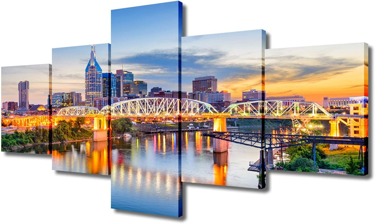 Wall Art Beautiful Cityscape and Skyline Colorful Canvas Art Painting for Room Decor Nashville Tennessee Bridge on the Cumberland River Picture Print On Canvas for Home Decor Modern Framed(50