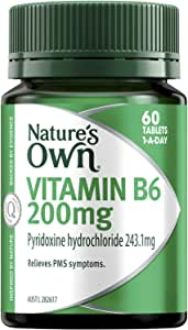 Nature's Own Vitamin B6 200mg - Aids RBC and Haemoglobin Formation - Relieves PMS Symptoms - Good for Pregnancy, 60 Tablets