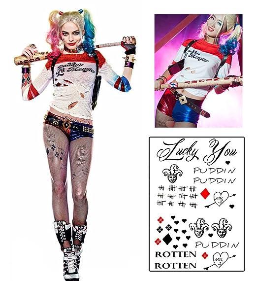 Harley Quinn Costume T Shirt Shorts Fishnet Tights Temporary