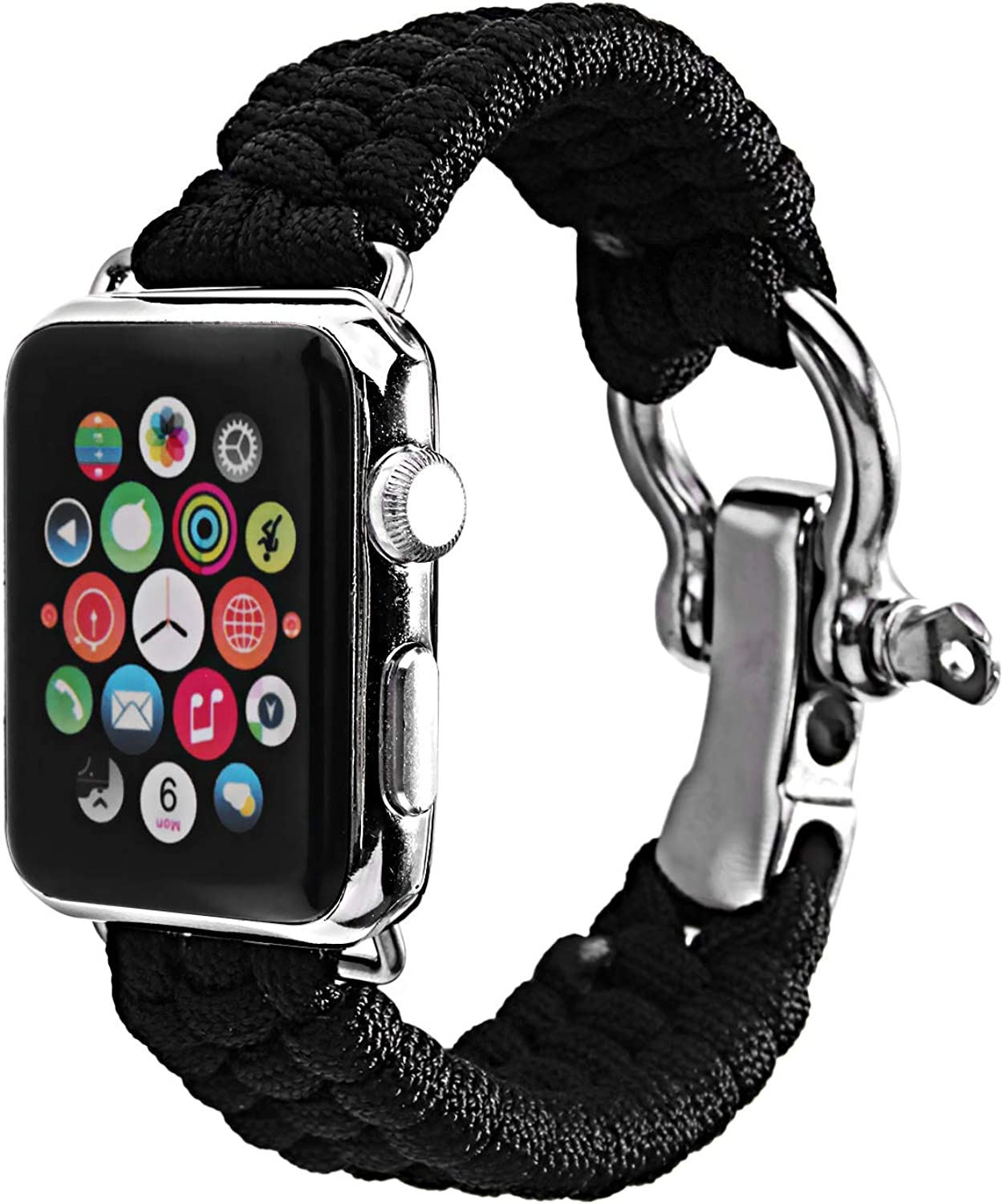 Baokai Band Compatible with Apple Watch 38mm 42mm, Nylon Rope Paracord Watch Band with Outdoor Survival Stainless Steel Shackle Replacement for Apple Watch Series 3 Series 2 Series 1 Sport Edition