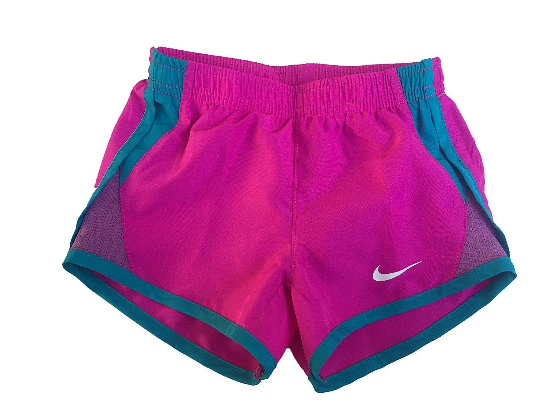 NIKE Girl`s Dry Tempo Running Shorts (Hyper Magenta (262139-P3K)/White/Blue Lagoon, 2T) by Nike