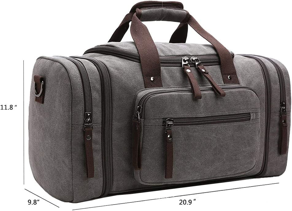ZYSY Unisex Canvas Holdall Weekend Bag Overnight Bag Travel Duffle Bag Carry-on Luggage Bag for Men and Women Black