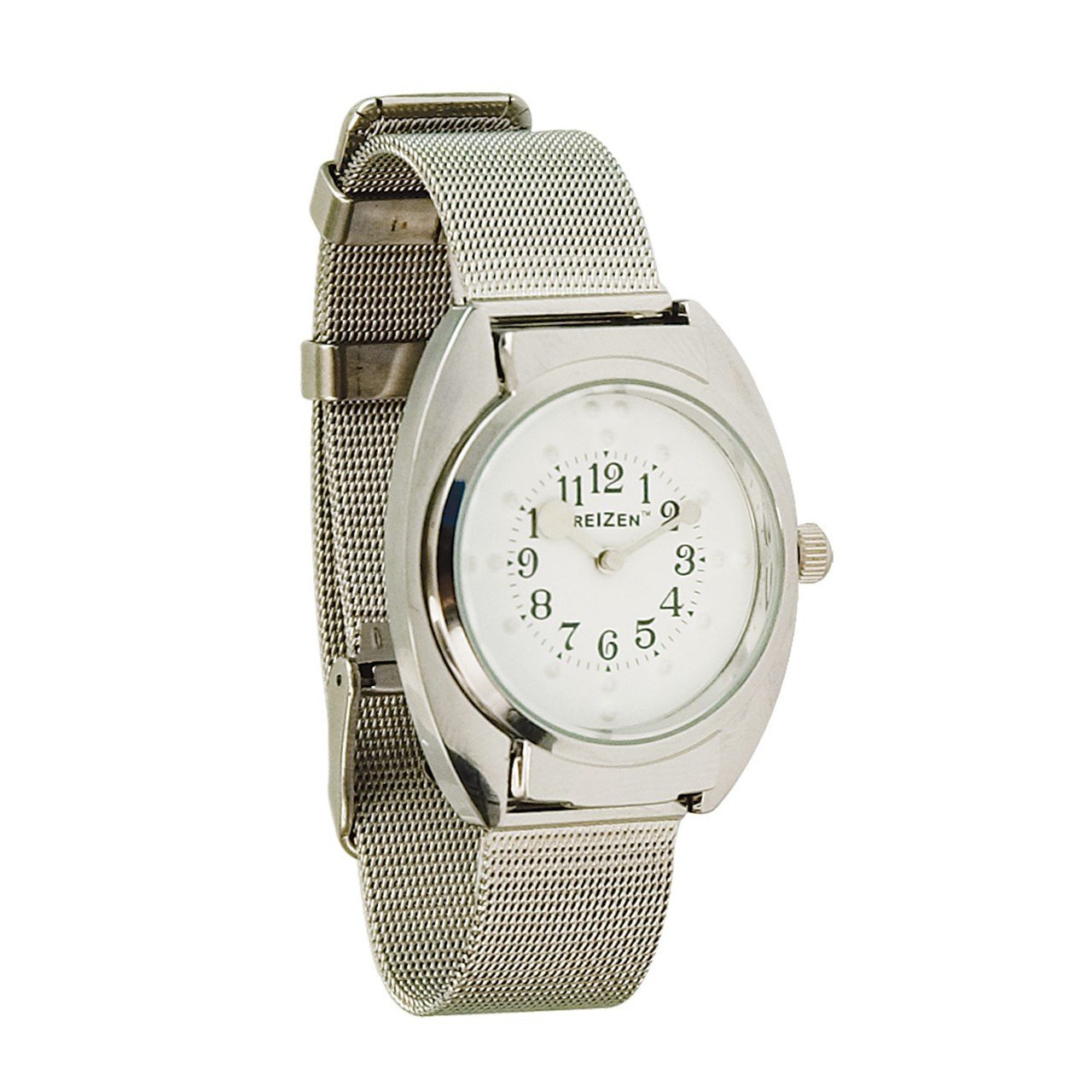 Unisex Braille Watch-Chrome-Steel Mesh Band-White Dial