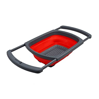 Kitchen Candy Collapsible Over the Sink Colander / Strainer, Red