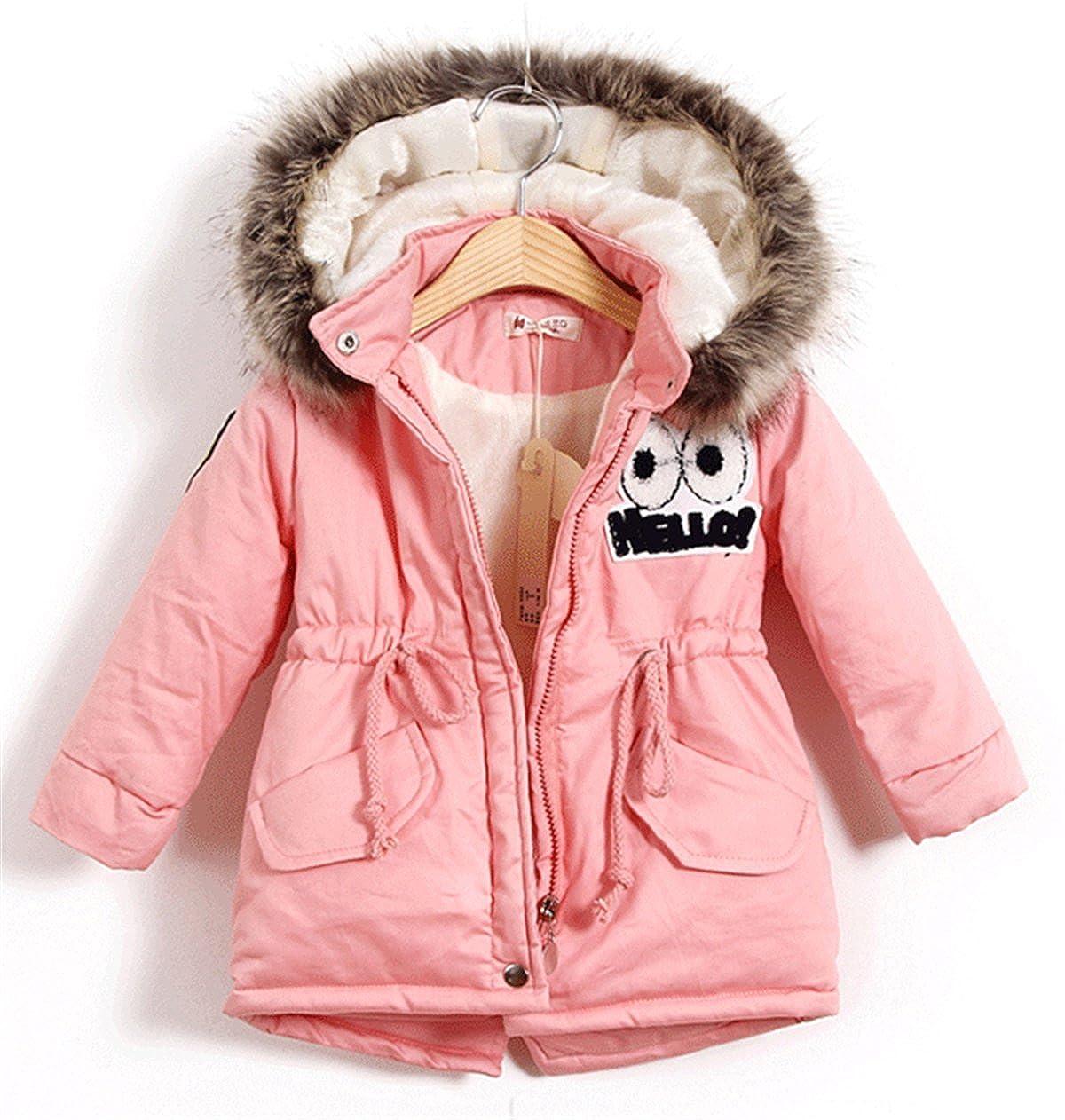 BBSMYA Baby Mädchen Jacke Mäntel Kleinkind Mädchen Winterjacke Kinderjacken Fell Warm Winter Coat Mantel Jacke Dicke Warme 0-3 Jahre