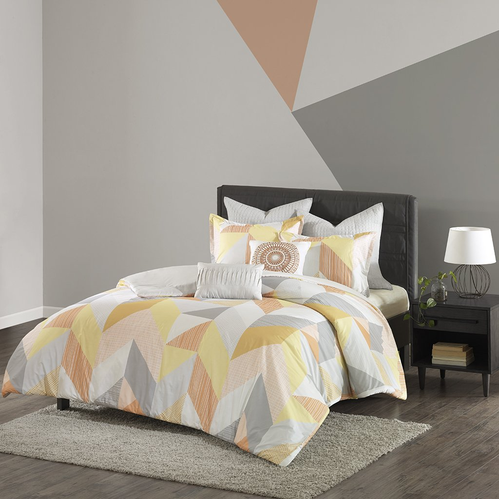 Urban Habitat Annalise Comforter Set Full/Queen Bedding Sets Bed In A Bag - Orange, Yellow, Grey, White, Geometric Chevron – 7 Piece Teen Bed Set – 100% Cotton Bed Comforter