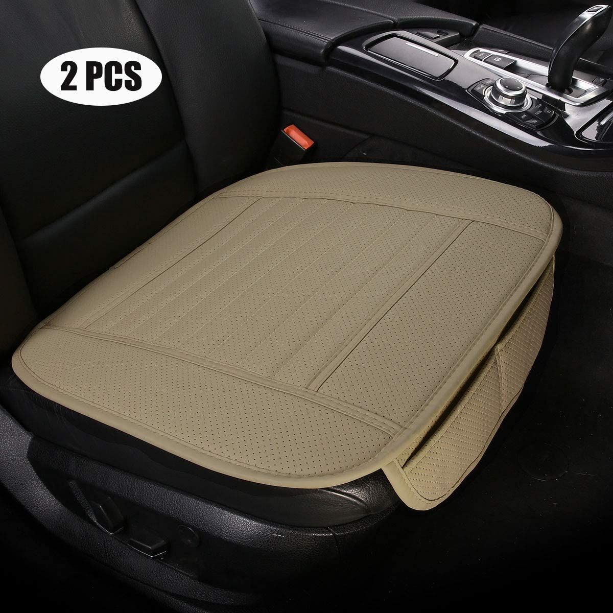 2 PCS Car Interior Winter Seat Protector Universal Warm Plush Car Seat Cover Winter Front Seat Cushion for Car Seat Protector Beige EDEALYN
