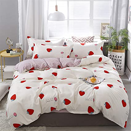Easy Fit Super King Size Duvet cover set  pillowcases summer Strawberry NEW