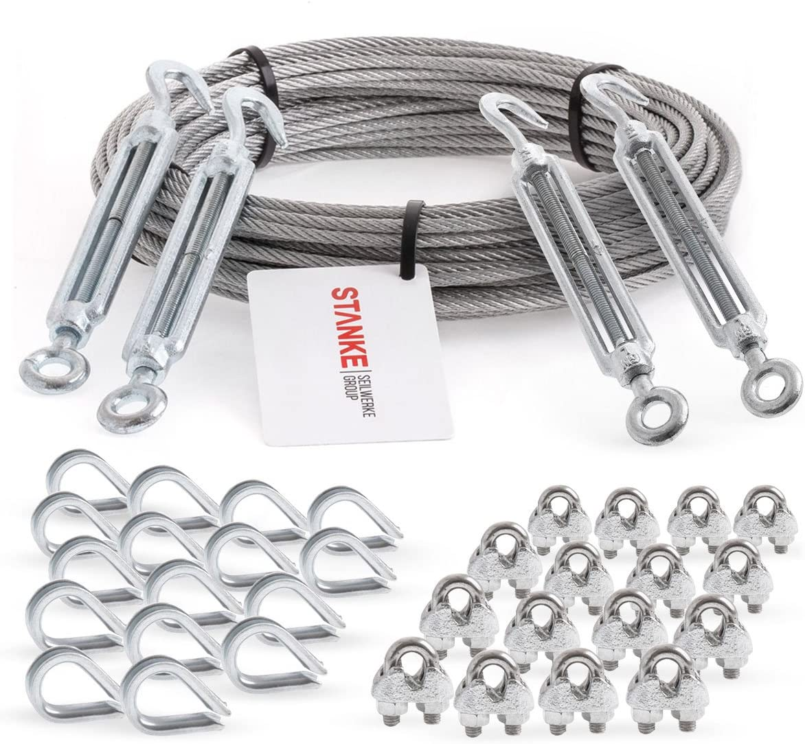 Seilwerk STANKE 10x M14 x 140mm Spannschloss /Öse-/Öse Spannschl/össer VERZINKT Seilspanner Spannschraube Spanner f/ür Drahtseil Haken /Öse Stahlseil Seil DIN Gewinde