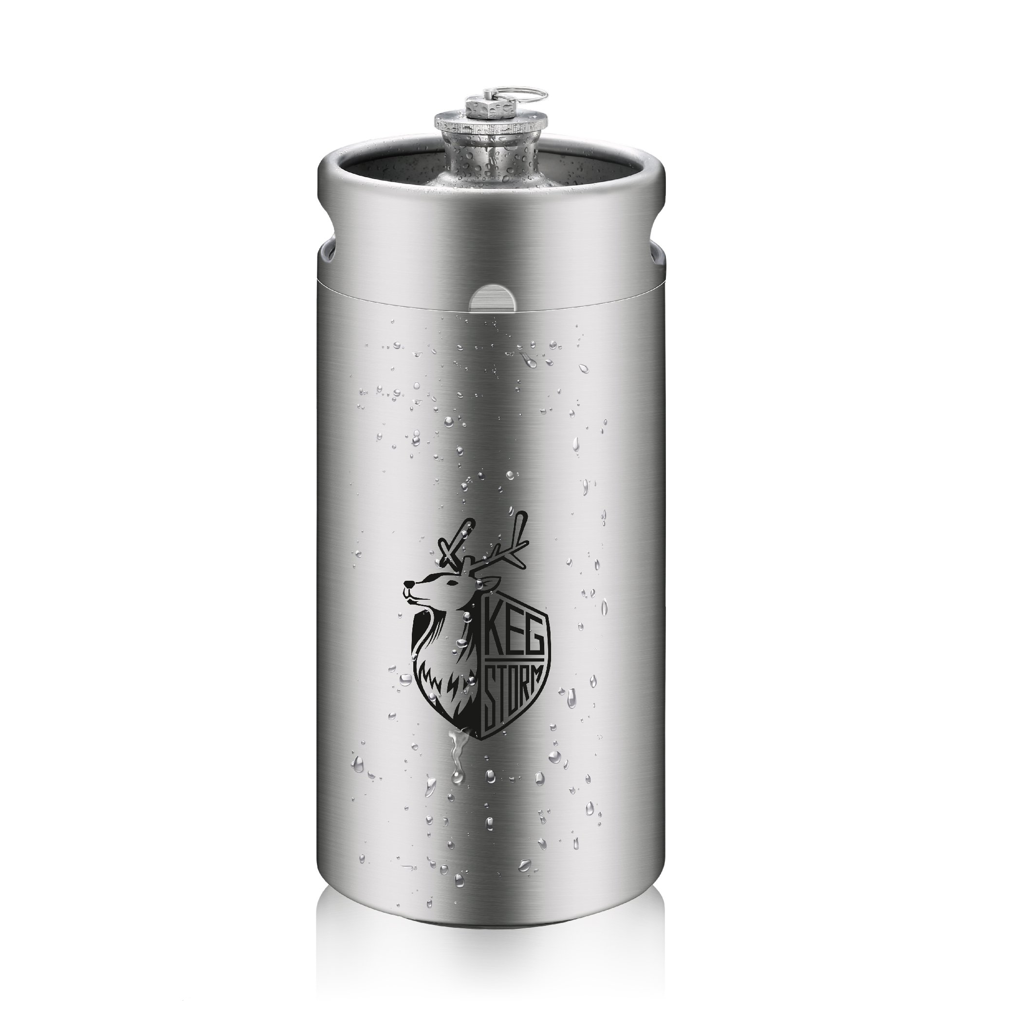 KEG STORM 128oz Mini Keg Style Growler Food Grade 18/8 Stainless Steel Barrel for Beer Brewing