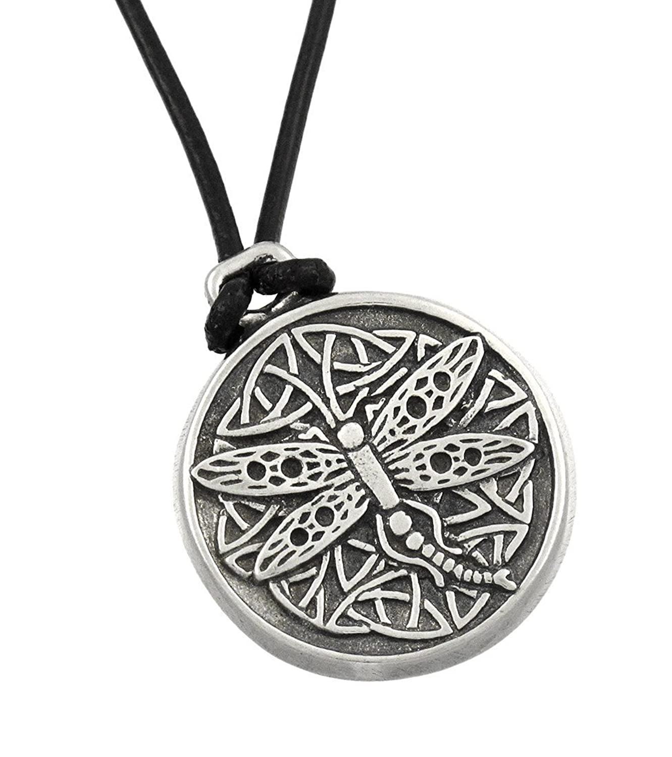 Things2die4 Metal Womens Pendant Necklaces Celtic Wisdom Dragonfly Pewter Pendant 16 In. Cord Necklace Pewter Model