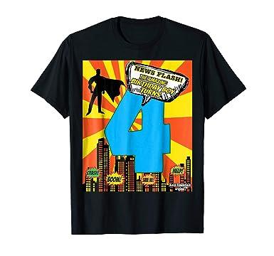 Mens Superhero Birthday Shirts For Boys Size 4 Four Party Theme 2XL Black