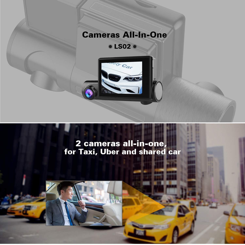 C/ámara de salpicadero para Coche SZKJ LS02 Pantalla t/áctil de 3,0 Pulgadas, DVR con GPS WiFi Frontal, 1080P + c/ámara de visi/ón Nocturna Interior 1080P, Doble Lente para Coche compartido y Taxi