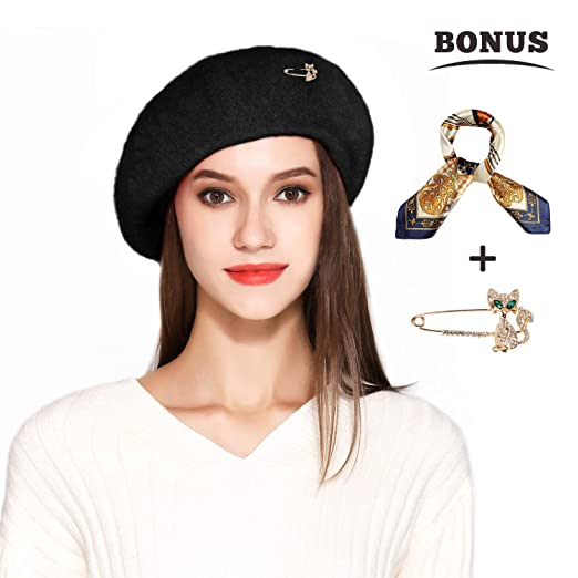 5cef03f358f38 Wool Beret Hat Solid Color French Beret with Skily Scarf and Brooch (Black)
