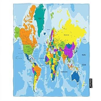 Amazon.com: Moslion World Map Throw Blanket Geography Global ... on vintage world map, ceramic world map, bedding world map, interior world map, simple world map, ornate world map, seasonal world map, jewelry world map, security world map, solar world map, repositionable world map, fluorescent world map, videogame world map, rounded world map, plants world map, miniature world map, illustration world map, mythological world map, nature world map, distressed world map,