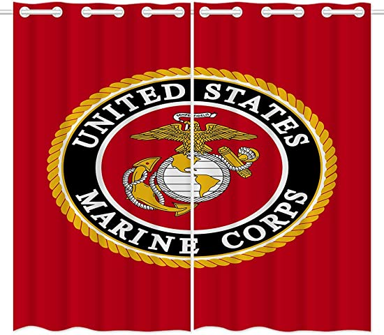 HommomH 42 x 84 inch Curtains 2 Panel Grommet Top Darkening Blackout Room Marine Corps Cool