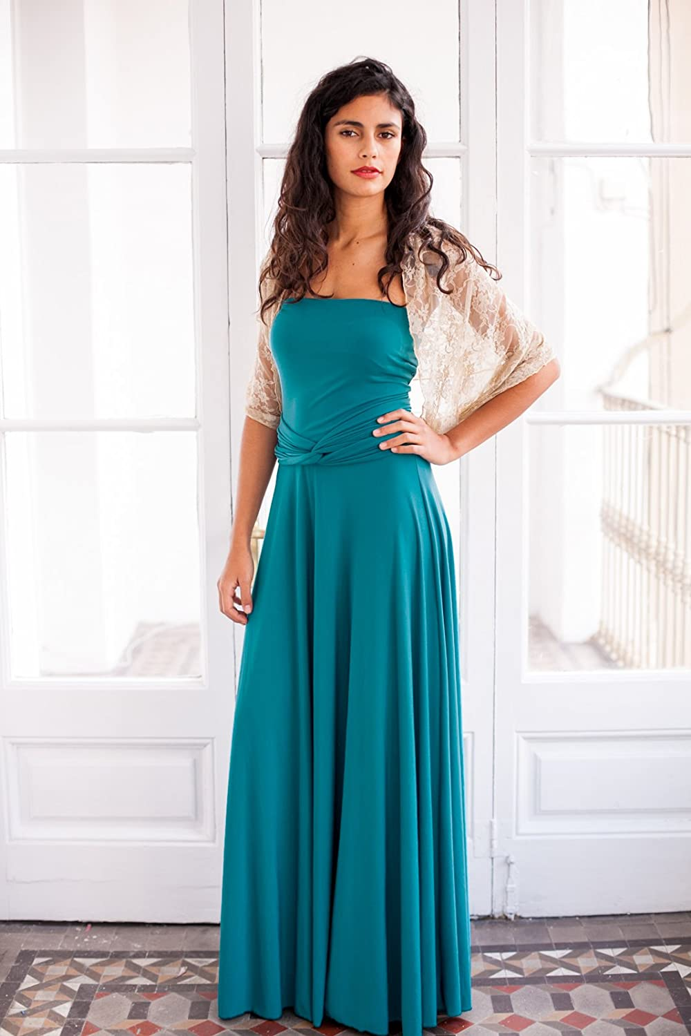 Amazon.com: Long convertible turquoise dress, turquoise wrap dress, long sleeve infinity dress, long teal dress, long turquoise prom dress, event dress: ...