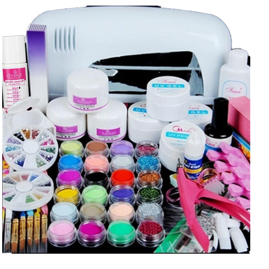 Nail Art Tools Kit Set, 9W UV White Dryer lamp, Kingfansion 24 color Acrylic Powder Nail Art Kit Gel Tools