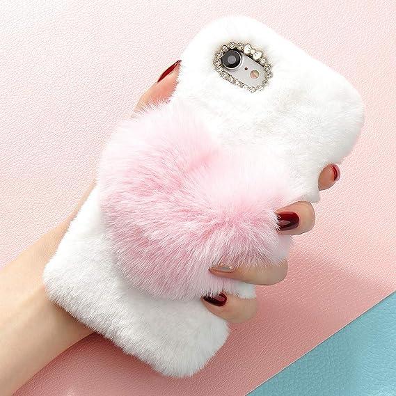 ceccfbb437 Plush Cover iPhone XR Cute Case Luxury Love Heart Faux Fur Soft Case  Flexible Fluffy Silicone