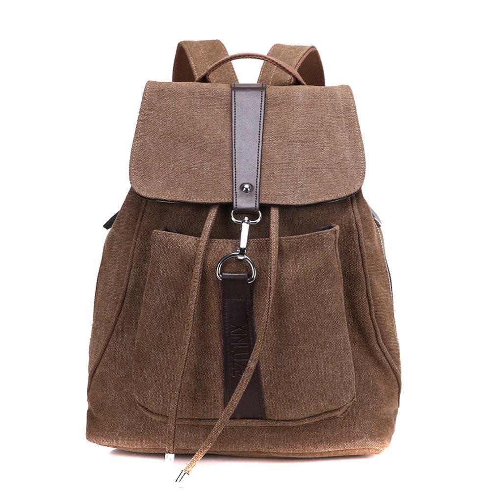 Classic Retro Casual Canvas Backpack Fashion Trend New Canvas Women Shoulder Bag Brown