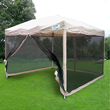 Quictent 8.2x8.2Feet Ez Tan Pop up Party Tent Canopy Gazebo Mesh Side Wall & Amazon.com : Quictent 8.2x8.2Feet Ez Tan Pop up Party Tent Canopy ...