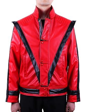 be6ae5f3f Mjb2c-Michael Jackson Costume Thriller Leather Jacket Adult/Child - Red