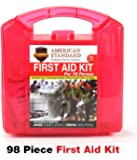 First Aid Kit American Standard Medical Supplies in a Durable Plastic Box, FDA Approved for Car, Home, Office, Work, Boat, RV, Outdoors, Camping, Hiking, Backpacking, Survival & Sports Teams, 98pc