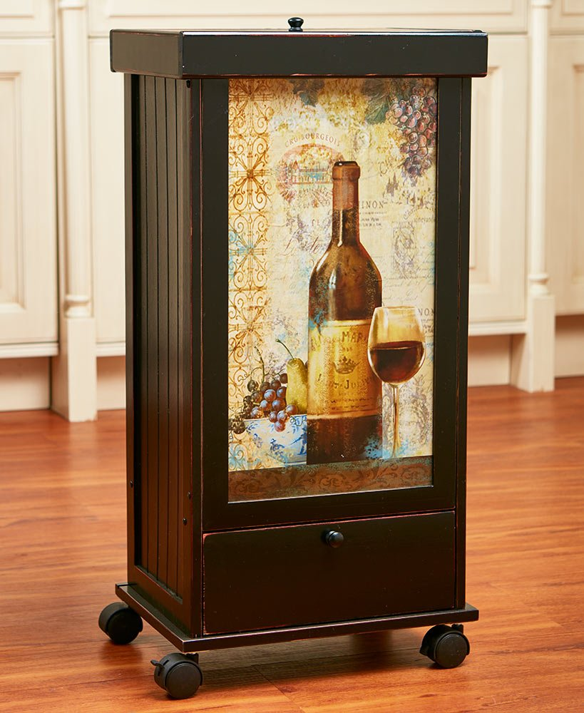 The Lakeside Collection Rolling Trash Bin with Storage-Wine