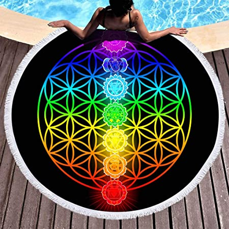 Toalla de Playa Redonda Estera de Yoga Esterilla de Picnic Alfombras Manteles Mandala Tapestry Manta Suave Estampado Impermeable Anti-Arena Al Aire ...