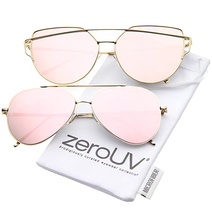 075a8cbd2874 zeroUV - Mirrored Oversized Aviator Sunglasses for Women with Flat Mirror  Lens 58mm (2-