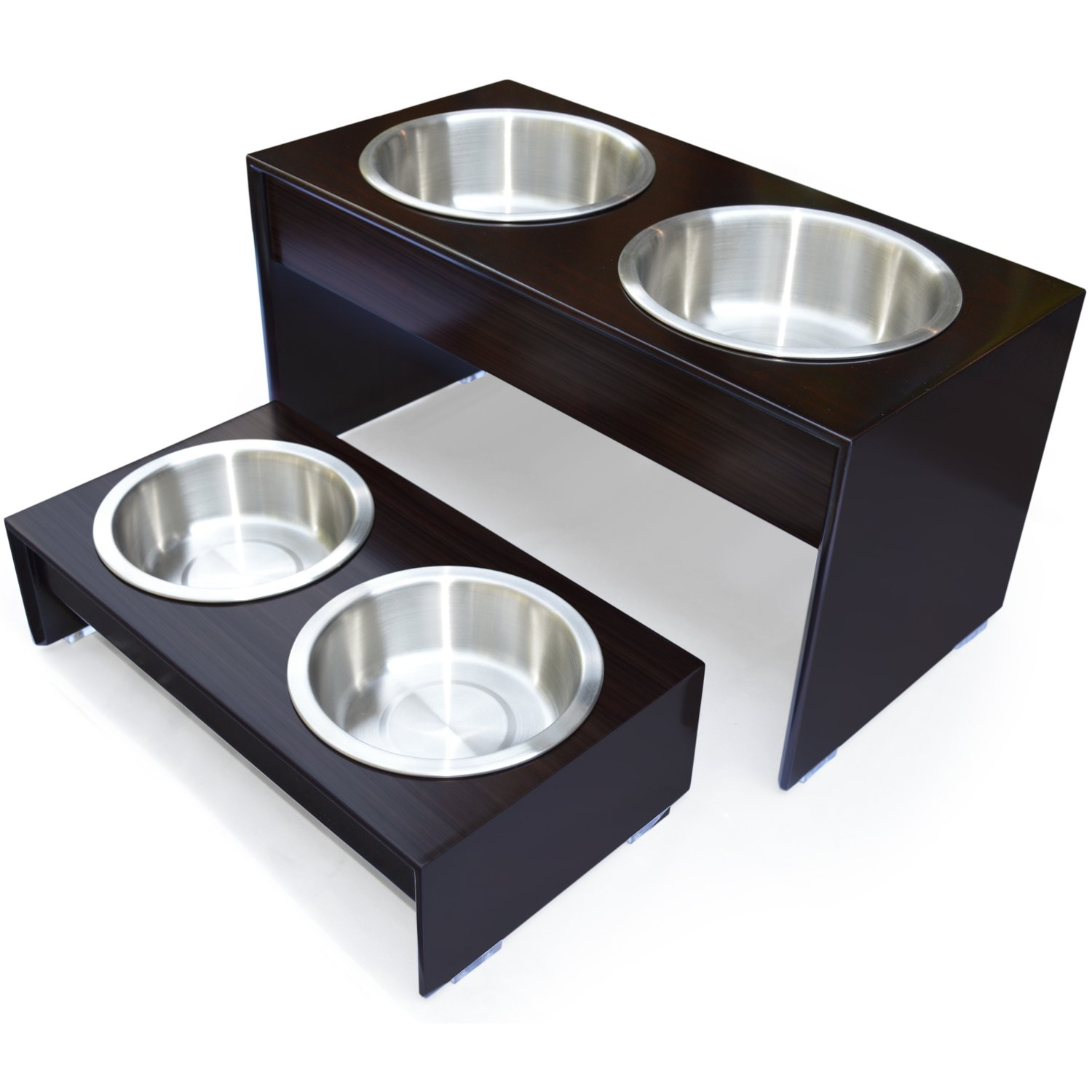 PetFusion Elevated Dog Bowls in Grade A New Zealand Pine (Tall 10''). Water Resistant & 2 US FOOD GRADE Stainless Steel 56oz bowls