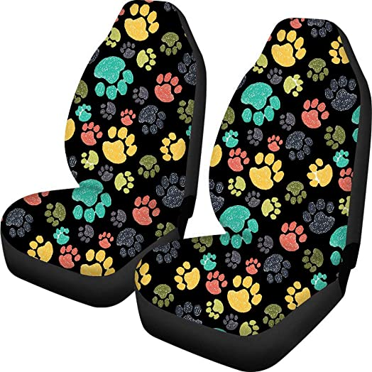 Dreaweet Cute Car Seat Cover Front Saddle Blanket Comfort Covers Colorful Dog Paw Print for Women Decorative Pack of 2