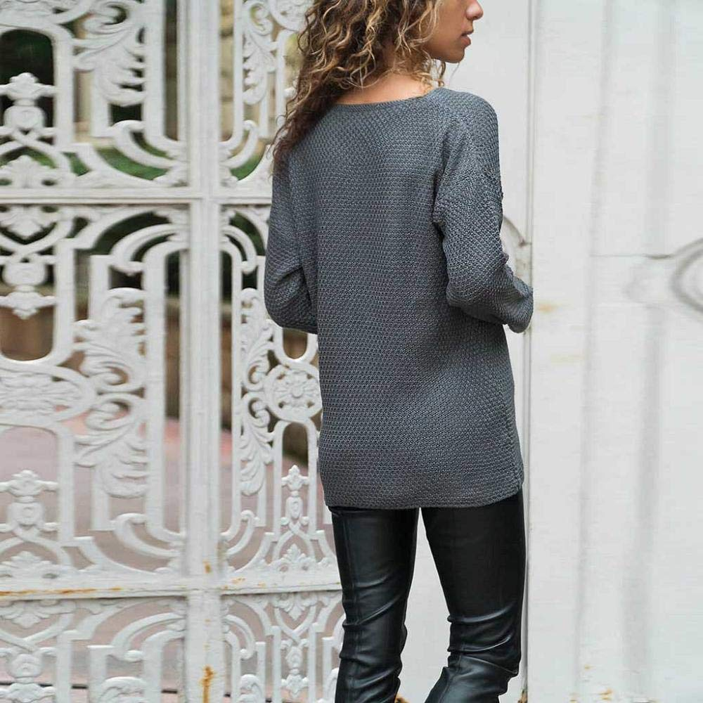 HGWXX7 Womens V Neck Solid Long Sleeve Casual Pullover Jumper Tops Knit Sweater