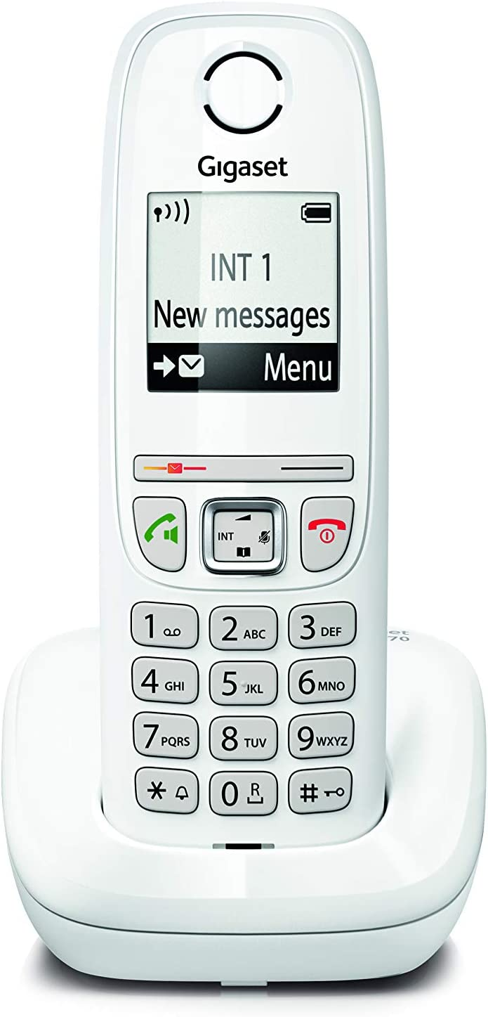 Gigaset AS470 Solo - Teléfono (Teléfono DECT, Terminal inalámbrico, Altavoz, 100 entradas, Identificador de Llamadas, Blanco): Amazon.es: Electrónica