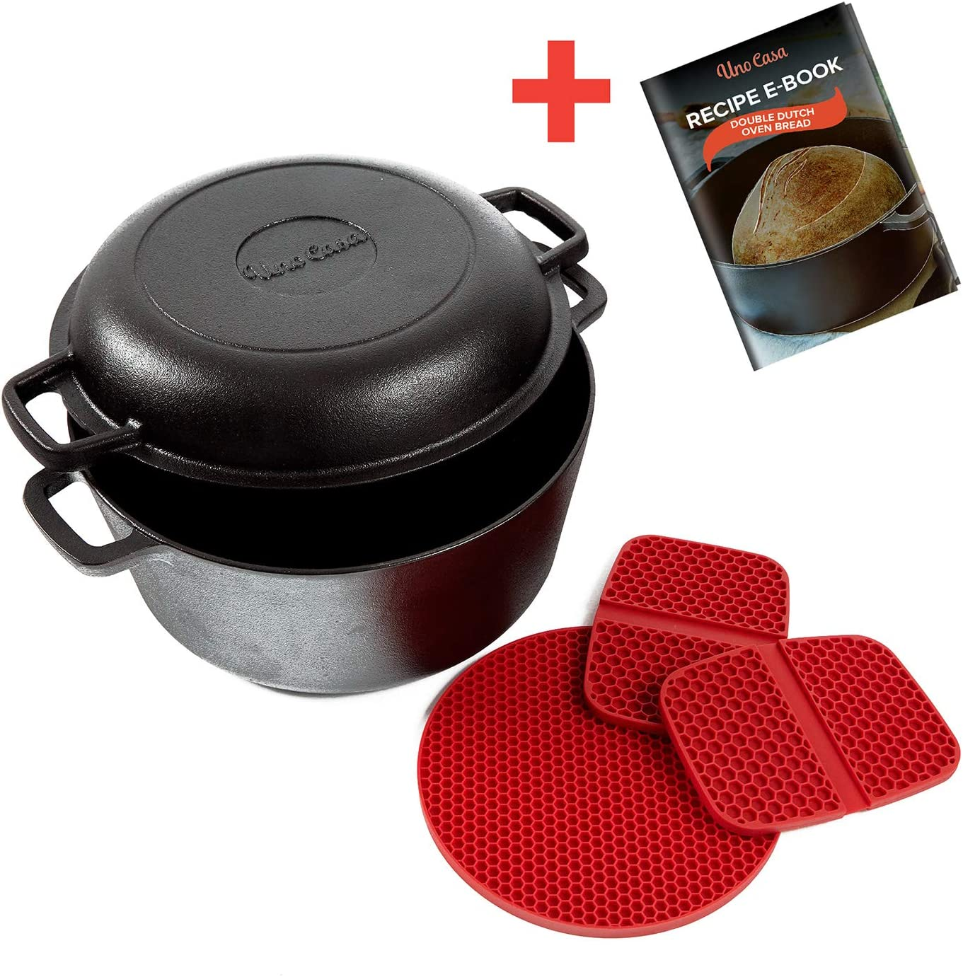 Overmont Dutch Oven Cast Iron Casserole Pot 5 QT Dual Function Lid Griddle Skillet Pre Seasoned with Handle Covers Stand for Camping Home Cooking BBQ Baking