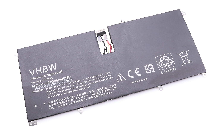 HD04XL. para Notebook port/átil HP Envy Spectre TU XT 13-2000eg XT 13-2021 por 685866-1B1 14.8V 685989-001 vhbw Li-Ion bater/ía 3040mAh