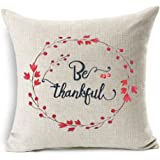 Personalized Be Thankful Thanksgiving Gifts Cotton Linen Throw Pillow Case Cushion Cover Home Office Living Room Indoor Decorative Square 18 X 18 Inches