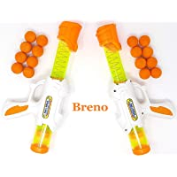 Breno Shooting Ball Blaster Foam Shooter Gun Toys for Boys Combo Pack of 2, Air Popper Toy Guns with 16 Soft Balls Foam Bullets, Kids Toys Gun with Bullets to Play for 4 5 6 7 8 9 10 Years Old Boy