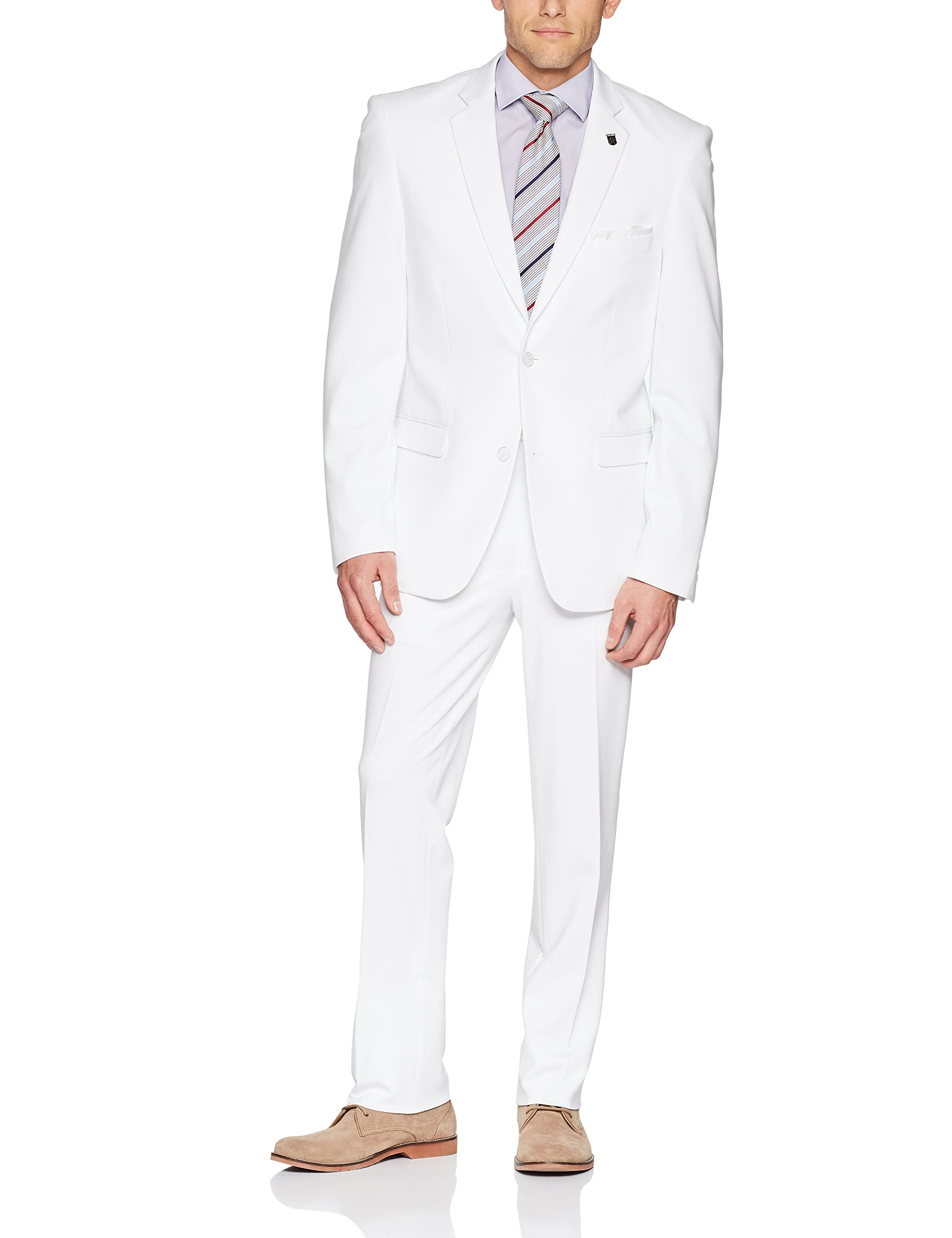 Stacy Adams Men's Big and Tall Single Breasted Real Flex Stretch Fabric Suit, White, 54 Long