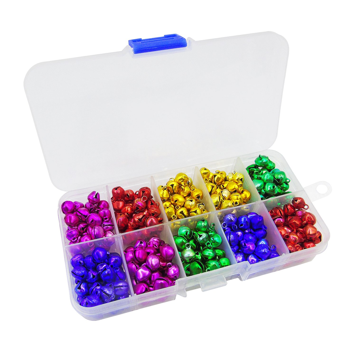 Grosun 300pcs Colored Jingle Bells Small Bell Mini Bells Bulk with Clear Box for Halloween Christmas Wedding Decoration and Jewelry Making