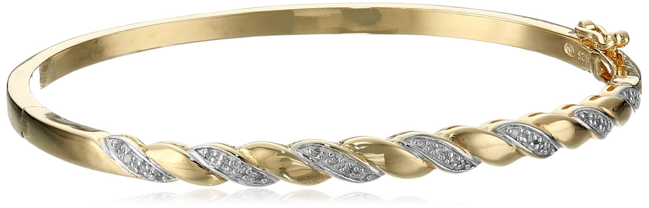 10K Gold Over Silver Diamond  Bangle Bracelet (1/7 cttw, I-J Color, I2-I3 Clarity)