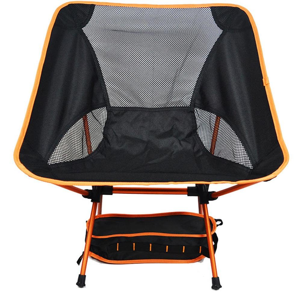 Heruai Camping Picnic Folding Chairs Light Leisure Folding Portable Padded Chair Folding Camping Chair Aluminum Alloy Bracket , orange