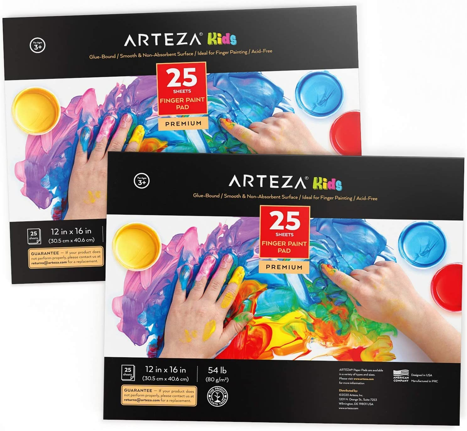 """Arteza 12x16"""" Finger Paint Paper Pad, Pack of 2, 50 Sheets (54lb/80gsm), 25 Sheets Each, Glue-Bound, Satin Finger Paint Paper for Toddlers, for Finger Painting and Mixed Media: Home Improvement"""