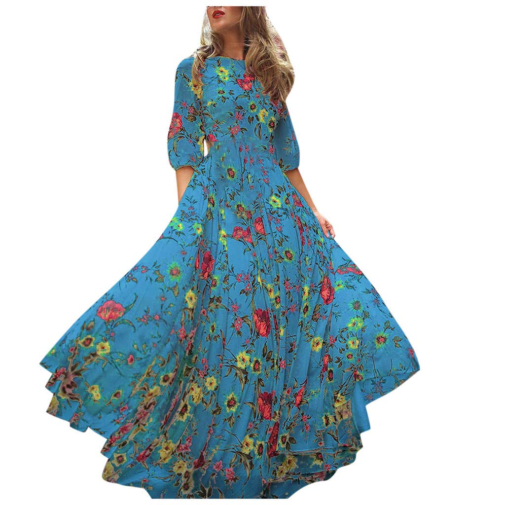 Fammison Women's Casual Floral Printed Long Maxi Dress Casual Swing Pleated T-Shirt Dress Blue by Fammison
