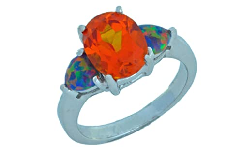 Elizabeth Jewelry Simulated Citrine Oval Simulated Black Opal Heart Ring .925 Sterling Silver Rhodium Finish