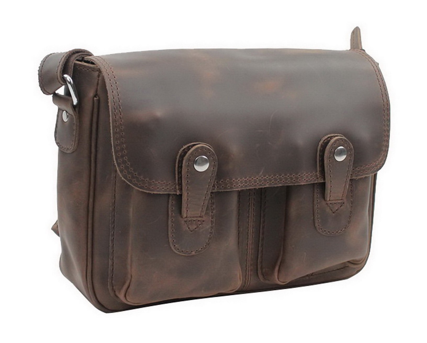 Vagabond Traveler 12.5'' Oil Tanned Cowhide Leather Satchel L80. Distress