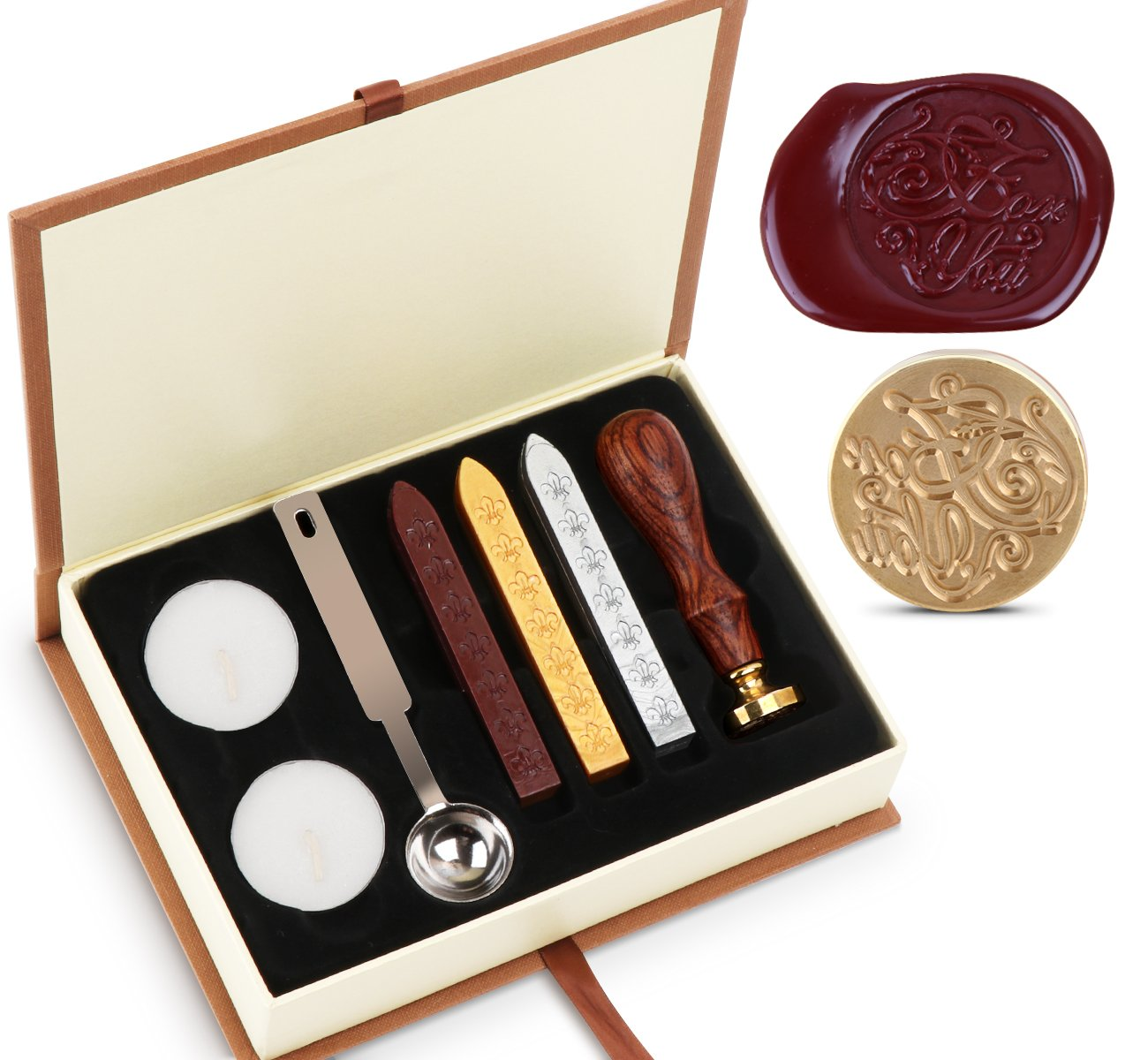 Wax Cera sello de Kit absofine Vintage Adhesive Waxing Juego con Stick Cuchara velas Caja de Regalo