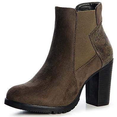 Topschuhe24 Plateau 1289 Velours Damen Boots Stiefeletten dshtQrxC